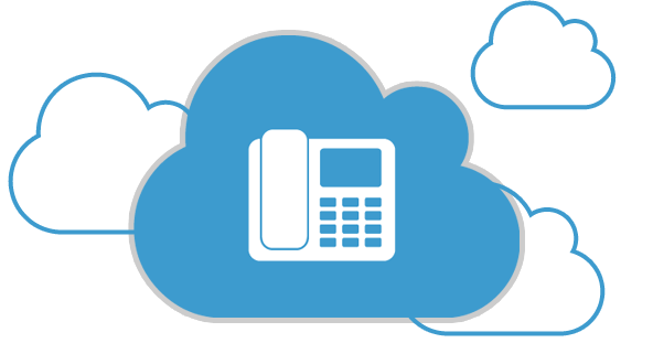 This image shows a white phone in a blue cloud. There are three outlines of other blue clouds in the background.