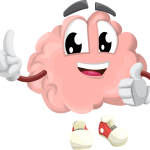 Pictured: Cartoon image of a brain with arms, legs, and a smiling face.